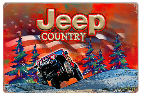 Red Jeep Country Reproduction Sign By Artist Phil Hamilton 12″x18″