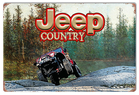 4 Wheeling Jeep Country Reproduction Sign By Phil Hamilton 12″x18″