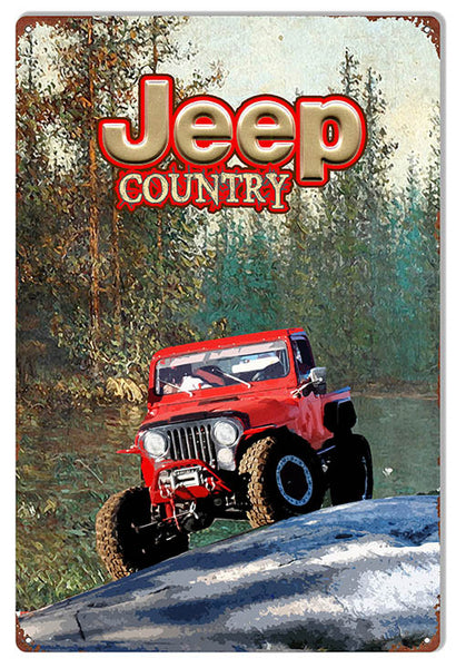 Country Jeep Red Reproduction Sign By Artist Phil Hamilton 12″x18″