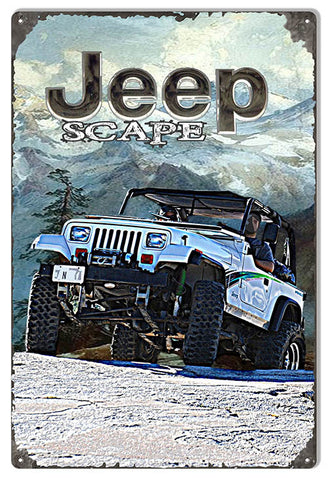 Scape Jeep Reproduction Sign By Artist Phil Hamilton 12″x18″