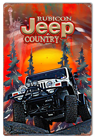 White Rubicon Country Jeep Reproduction Sign By Phil Hamilton 12″x18″