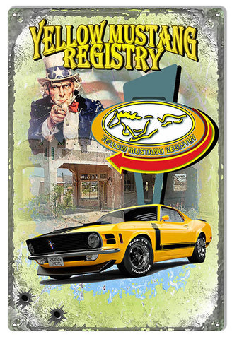 Registry Yellow Mustang Uncle Sam Original Art 12″x18″