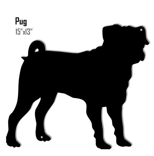 Pug Dog Laser Cut Out Reproduction Sign 13″x15″