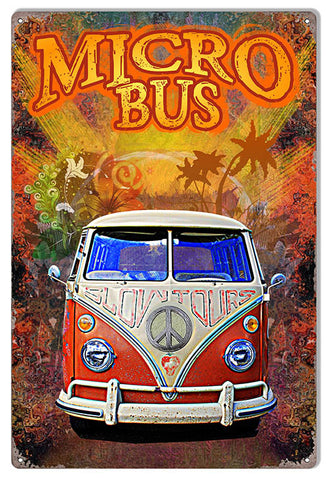 Classic Micro Bus VW Reproduction Sign By Artist Phil Hamilton 12″x18″