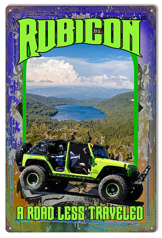 Road LessTraveled Jeep Reproduction Sign By Artist Phil Hamilton 12x18
