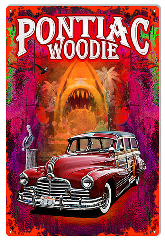 Pontiac Woodie Reproduction Sign By Artist Phil Hamilton 12″x18″