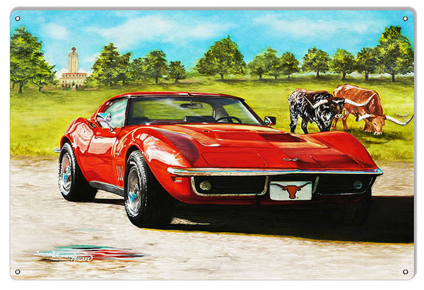 Sleek Red Corvette By Artist Donna Wayman-Mauer 12″x18″