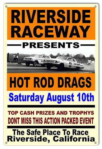 Riverside Raceway Hot Rod Drag Speedway Reproduction Sign 12x18