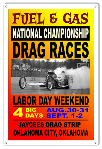 Fuel Gas National Drag Races Motor Speedway Reproduction Sign 12″x18″