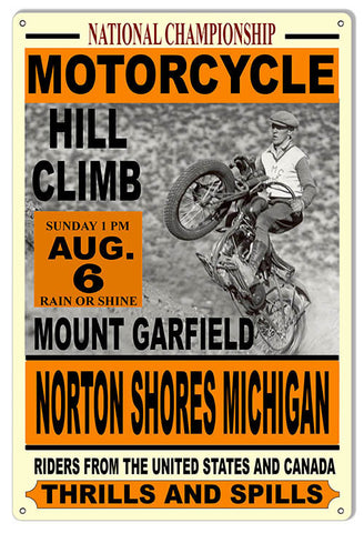 Nat. Motorcycle Hill Climb  Motor Speedway Reproduction Sign 12″x18″