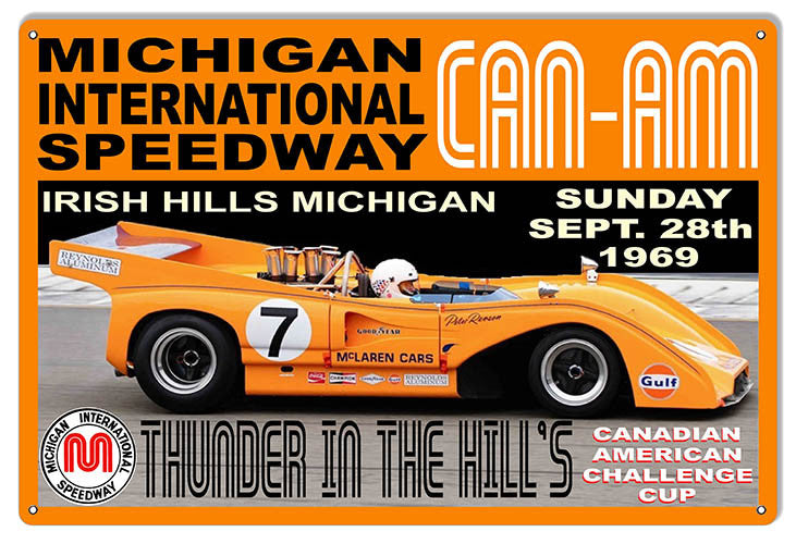 CAN-AM Thunder In The Hills Motor Speedway Reproduction Sign 12″x18″