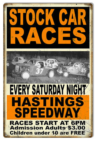 Stock Car Races Sat Night Motor Speedway Reproduction Sign 12″x18″