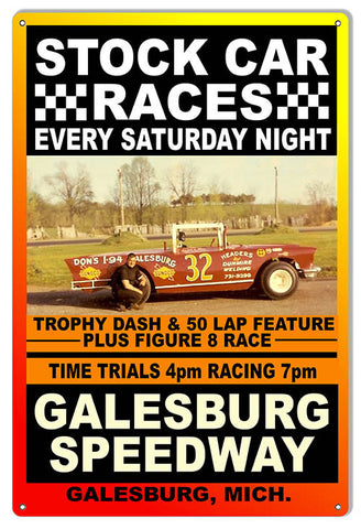 Stock Car Races Galesburg Motor Speedway Reproduction Sign 12″x18″