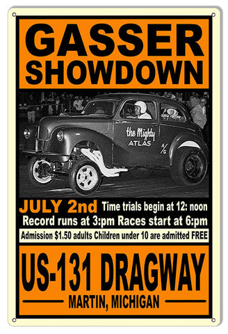 Gasser Showdown US-131 Motor Speedway Reproduction Sign 12″x18″