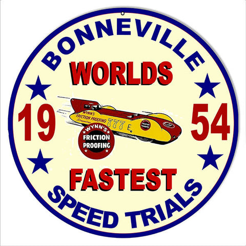Bonneville Trials 1954 Motor Speedway Reproduction Sign 14″ Round