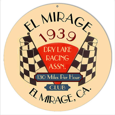 El Mirage 1939 Motor Speedway Reproduction Sign 14″ Round