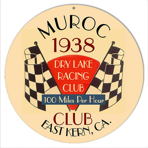Muroc Club 1938 Motor Speedway Reproduction Sign 14″ Round