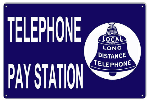 Pay Station Telephone Nostalgic Reproduction Sign 12″x18″