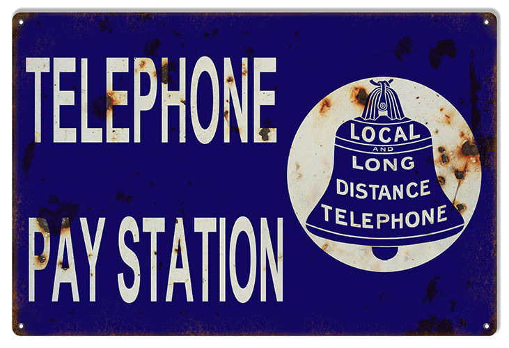 Aged Looking Telephone Pay Station Nostalgic Reproduction Sign 12″x18″