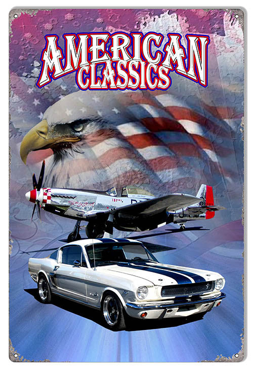 White With Blue Stripe Classic Mustang By Artist Phil Hamilton 12″x18″