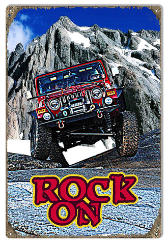 Rock On Jeep Reproduction Sign By Artist Phil Hamilton 12x18