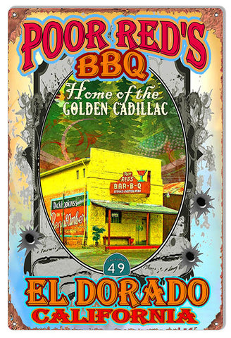Poor Reds BBQ Eldorado Reproduction Sign  Artist Phil Hamilton 12″x18″