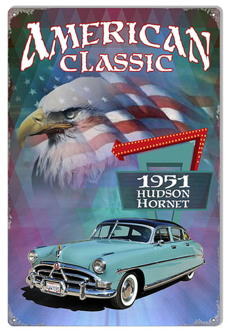 1951 Hudson Hornet Reproduction Sign Artist Phil Hamilton 12″x18″