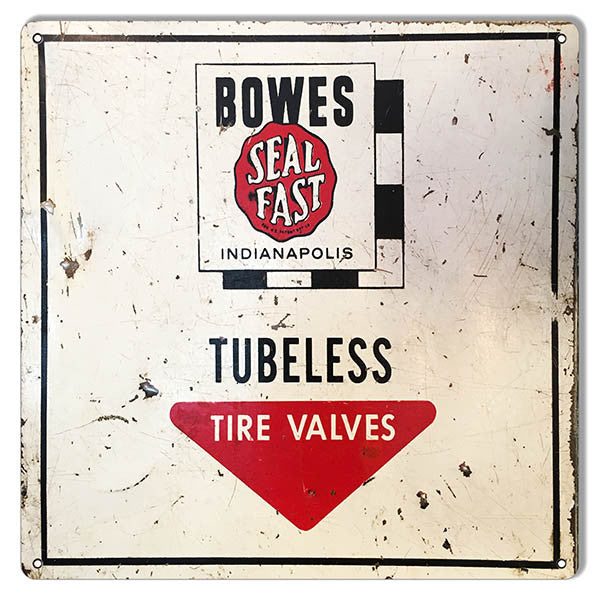 Aged Bowes Tubeless Tire Valves Gas Station Reproduction Sign 12″x12″