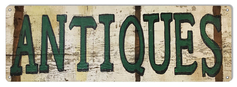 Large Aged Looking Antiques Nostalgic Reproduction Sign 8″x24″