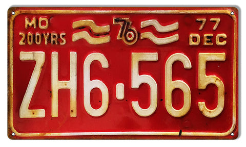 Distressed MO Dec 77 License Plate Gas Station Reproduction Sign 8″x14″