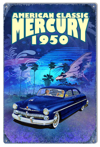 Reproduction American Classic Series by Phil Hamilton 12″x18″ 1950 Mercury Metal  Sign