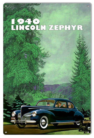 "Reproduction 1940 Lincoln Zephyr 12""x18"" Classic Car Metal  Sign by Phil Hamilton"