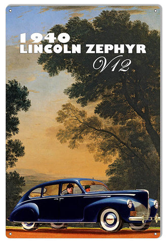"Reproduction Classic Car V12 Lincoln Zephyr Metal  Sign By Phil Hamilton 12""x18 """