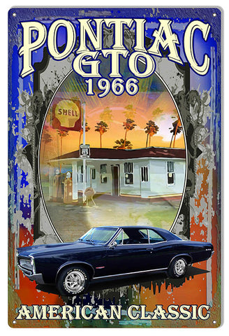 "Reproduction Pontiac GTO 1966 Hot Rod Car by Phil Hamilton Metal  Sign 12""x18"""