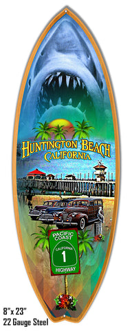 "Reproduction Huntington Beach Surf Board Metal  Sign 8""x23"" Laser Cut Out of Steel"