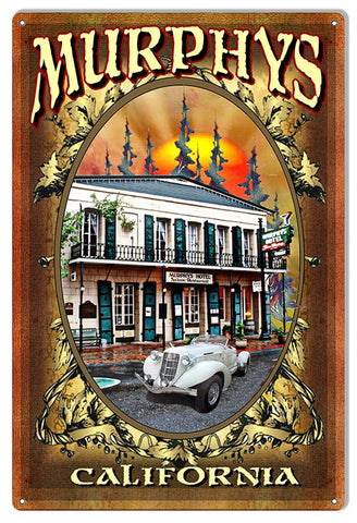 "Reproduction Historic Murphy's California Hotel Metal  Sign 12""x18"" by Phil Hamilton"