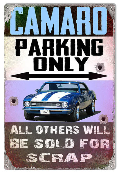 "Camaro Parking Faux Bullet Holes Reproduction by Phil Hamilton 12""x18"""
