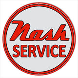 Nash Service Station Metal  Sign Round Reproduction
