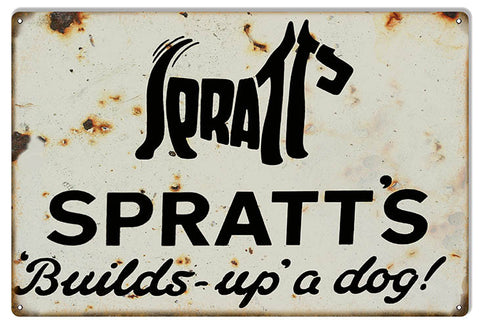 Spratts Builds Up A Dog Reproduction  Nostalgic Metal  Sign 12″x18″