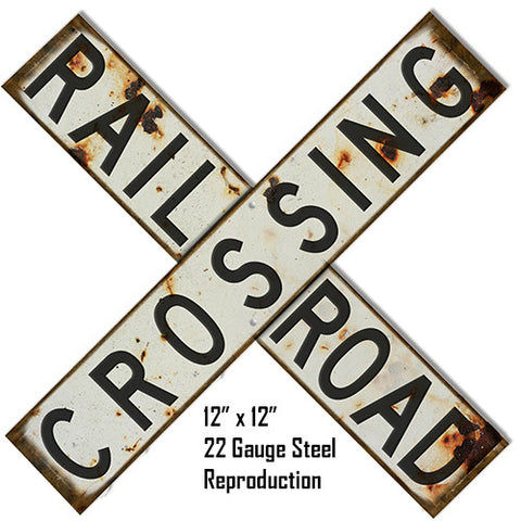 Aged Looking Reproduction  Railroad Crossing Laser Cut Out Metal  Sign 12″x12″