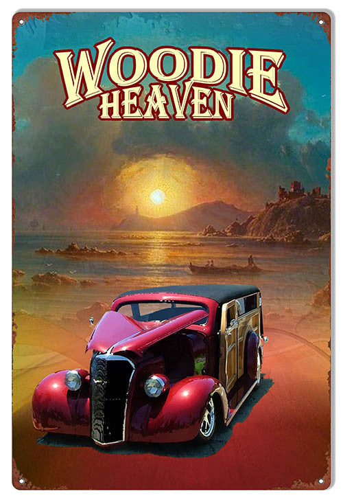 Reproduction Woodie Heaven Metal  Sign By Artist Phil Hamilton 12″x18″