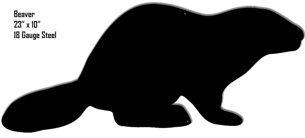Beaver Animal Silhouette Laser Cut Out Metal  Sign 10″x23″
