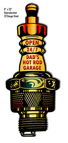 Dads Garage Open 24/7 Reproduction  laser Cut Out Metal  Sign 9″x23″
