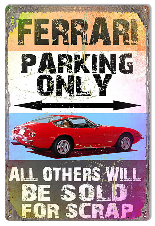 Ferrari Parking Only Reproduction  By Artist Phil Hamilton 12″x18″