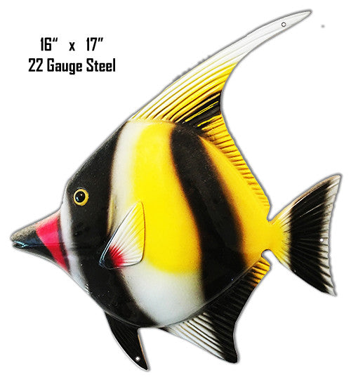 Black Red Tip Nose Tropical Fish Laser Cut Out Metal  Sign 16″x17″