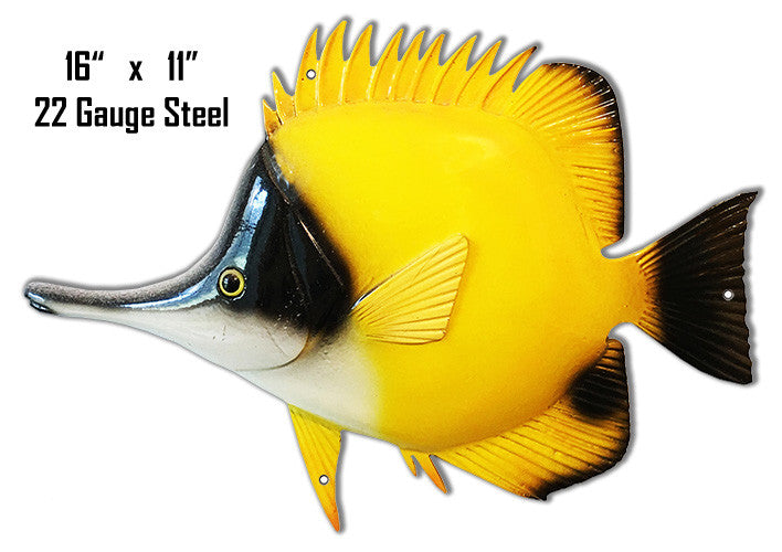 Yellow With Black Accents Tropical Fish Laser Cut Out Metal  Sign 11″x16″