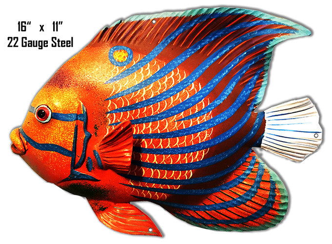 Red Yellow Blue Stripe Tropical Fish Laser Cut Out Metal  Sign 11″x16″