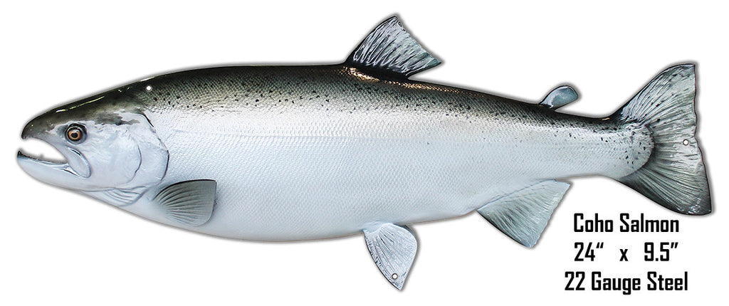 Coho Salmon Wall Art Laser Cut Out Metal  Sign 9.5″x24″