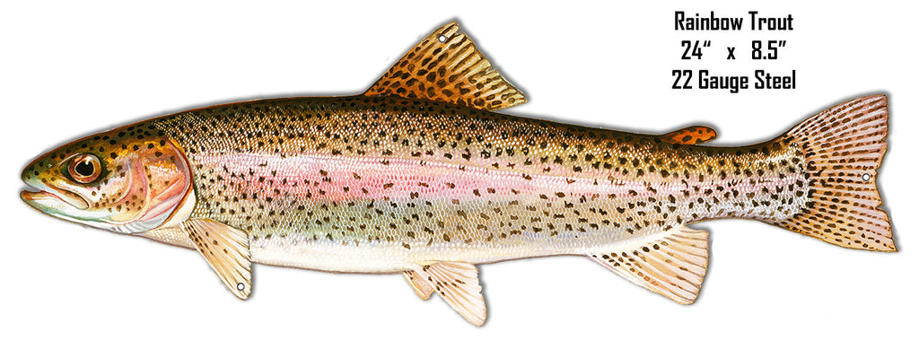 Rainbow Trout Wall Art Laser Cut Out Metal  Sign 8.5″x24″
