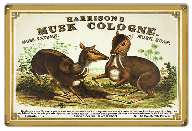 Reproduction Harrisons Musk Cologne Nostalgic Metal  Sign 12″x18″